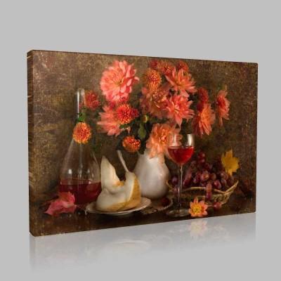 Şarap Ve Çiçekler Kanvas Tablo