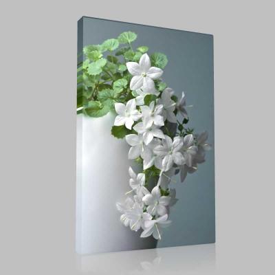 Beyaz İlkbahar Çiçekleri Kanvas Tablo