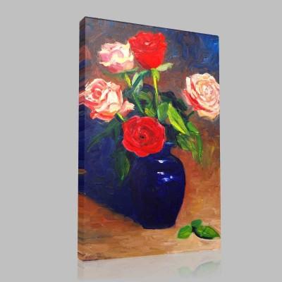 Kırmızı Güller Vazoda Kanvas Tablo