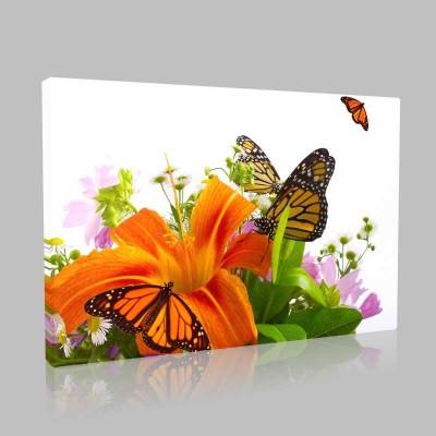 Kelebek Ve Çiçek Kanvas Tablo