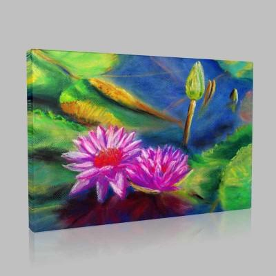 Pembe Pastel Lotus Kanvas Tablo