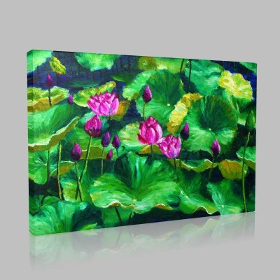 Pembe Pastel Lotuslar Kanvas Tablo