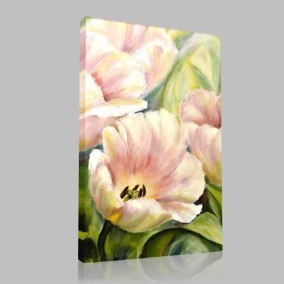 Yağlıboya Beyaz Çiçekler Kanvas Tablo