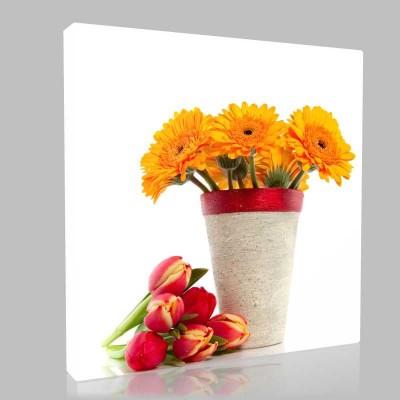Vazo Ve Çiçek Demeti Kanvas Tablo