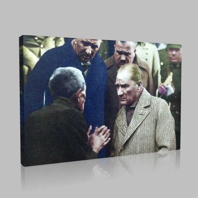Renkli Atatürk Resimleri 112 Kanvas Tablo
