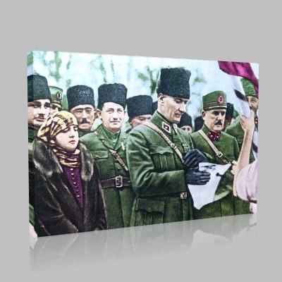 Renkli Atatürk Resimleri 114 Kanvas Tablo