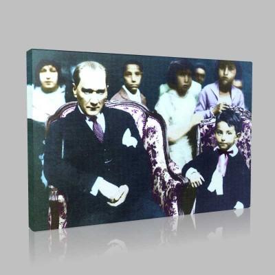 Renkli Atatürk Resimleri 123 Kanvas Tablo