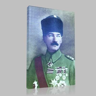 Renkli Atatürk Resimleri 3 Kanvas Tablo