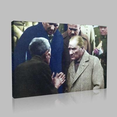 Renkli Atatürk Resimleri 401 Kanvas Tablo