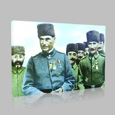 Renkli Atatürk Resimleri 63 Kanvas Tablo