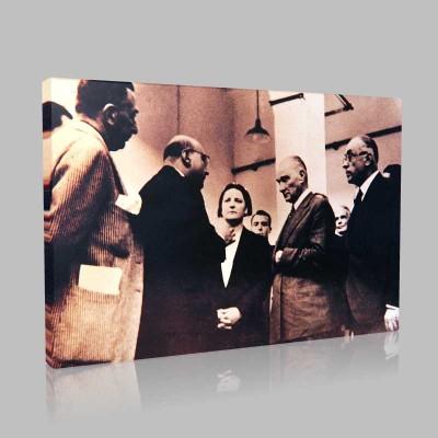 Siyah Beyaz Atatürk Resimleri  105 Kanvas Tablo