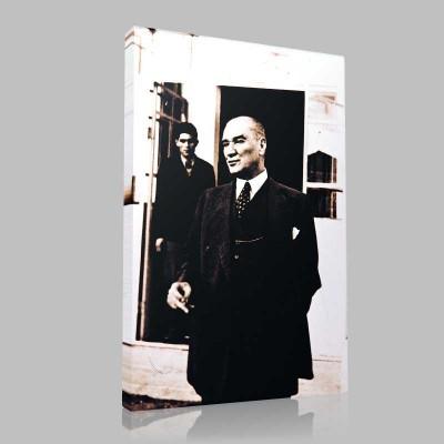 Siyah Beyaz Atatürk Resimleri  110 Kanvas Tablo