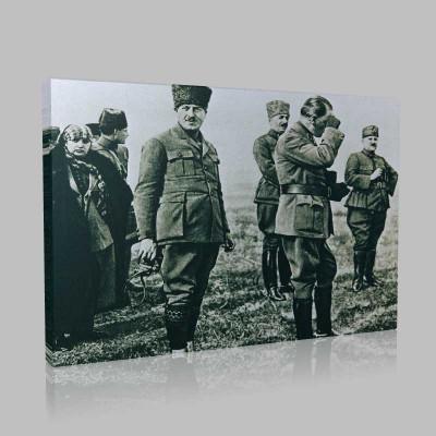 Siyah Beyaz Atatürk Resimleri  12 Kanvas Tablo