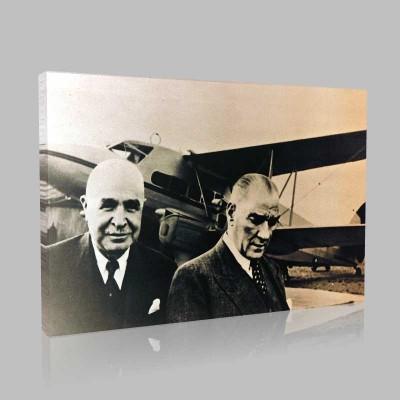Siyah Beyaz Atatürk Resimleri  120 Kanvas Tablo