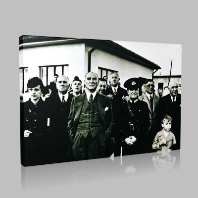 Siyah Beyaz Atatürk Resimleri  121 Kanvas Tablo