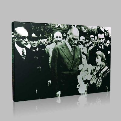 Siyah Beyaz Atatürk Resimleri  122 Kanvas Tablo