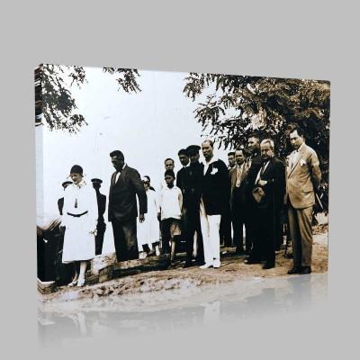 Siyah Beyaz Atatürk Resimleri  123 Kanvas Tablo