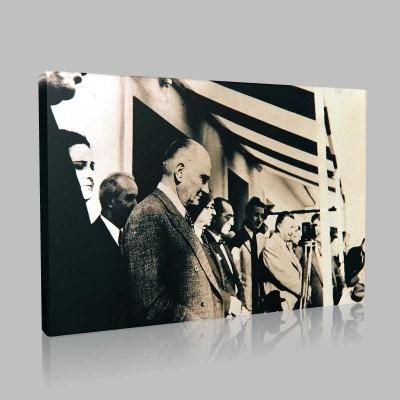 Siyah Beyaz Atatürk Resimleri  127 Kanvas Tablo