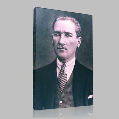 Siyah Beyaz Atatürk Resimleri  141 Kanvas Tablo