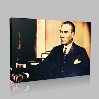 Siyah Beyaz Atatürk Resimleri  150 Kanvas Tablo