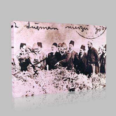 Siyah Beyaz Atatürk Resimleri  160 Kanvas Tablo