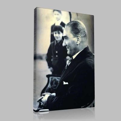 Siyah Beyaz Atatürk Resimleri  205 Kanvas Tablo