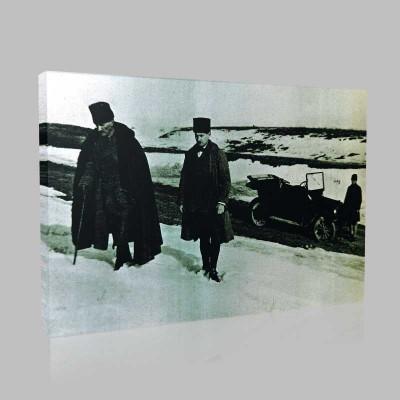 Siyah Beyaz Atatürk Resimleri  212 Kanvas Tablo