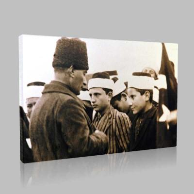 Siyah Beyaz Atatürk Resimleri  221 Kanvas Tablo