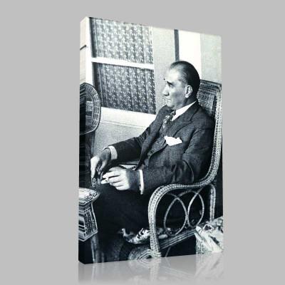 Siyah Beyaz Atatürk Resimleri  232 Kanvas Tablo