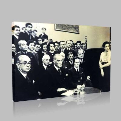Siyah Beyaz Atatürk Resimleri  245 Kanvas Tablo