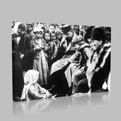 Siyah Beyaz Atatürk Resimleri  261 Kanvas Tablo