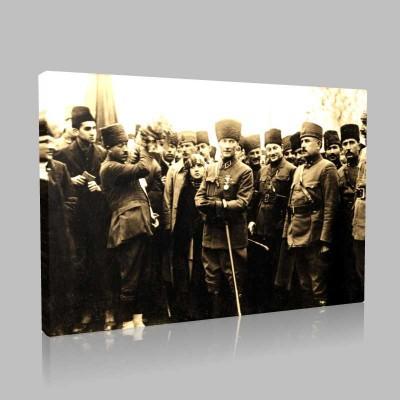 Siyah Beyaz Atatürk Resimleri  283 Kanvas Tablo