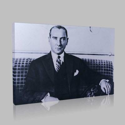 Siyah Beyaz Atatürk Resimleri  294 Kanvas Tablo