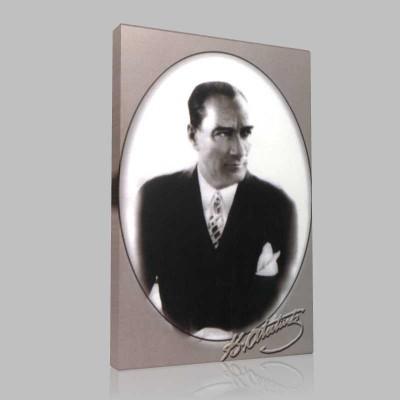 Siyah Beyaz Atatürk Resimleri  3 Kanvas Tablo
