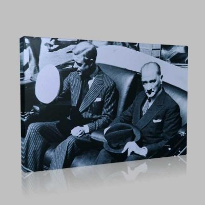 Siyah Beyaz Atatürk Resimleri  301 Kanvas Tablo