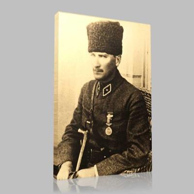 Siyah Beyaz Atatürk Resimleri  303 Kanvas Tablo