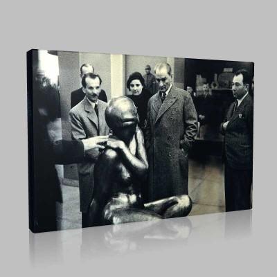 Siyah Beyaz Atatürk Resimleri  304 Kanvas Tablo