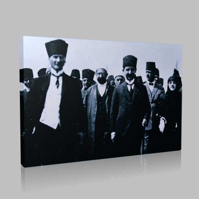 Siyah Beyaz Atatürk Resimleri  305 Kanvas Tablo