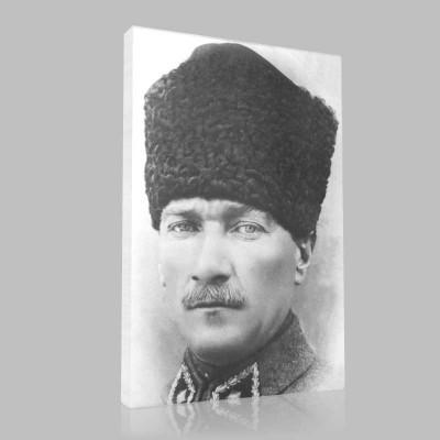 Siyah Beyaz Atatürk Resimleri  306 Kanvas Tablo