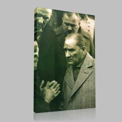 Siyah Beyaz Atatürk Resimleri  316 Kanvas Tablo