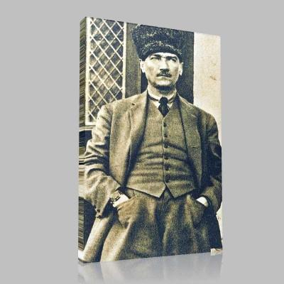 Siyah Beyaz Atatürk Resimleri  32 Kanvas Tablo