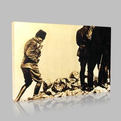 Siyah Beyaz Atatürk Resimleri  325 Kanvas Tablo