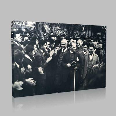 Siyah Beyaz Atatürk Resimleri  326 Kanvas Tablo