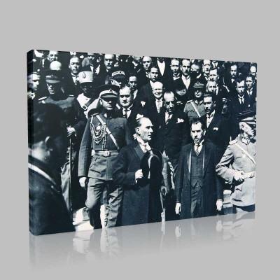 Siyah Beyaz Atatürk Resimleri  330 Kanvas Tablo