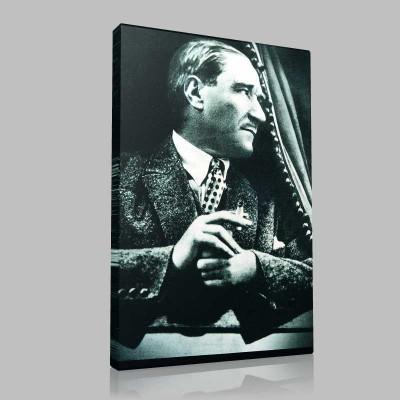 Siyah Beyaz Atatürk Resimleri  340 Kanvas Tablo