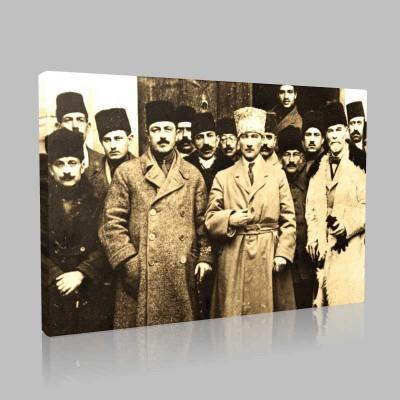 Siyah Beyaz Atatürk Resimleri  349 Kanvas Tablo