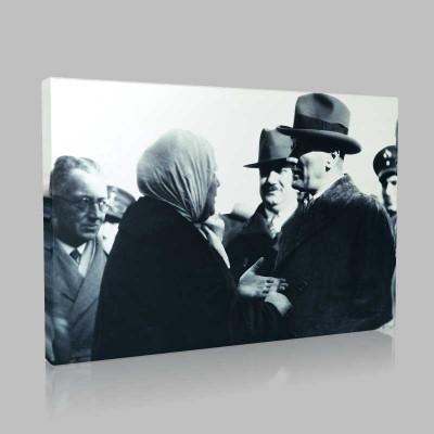 Siyah Beyaz Atatürk Resimleri  352 Kanvas Tablo