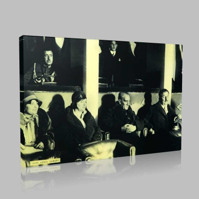 Siyah Beyaz Atatürk Resimleri  358 Kanvas Tablo