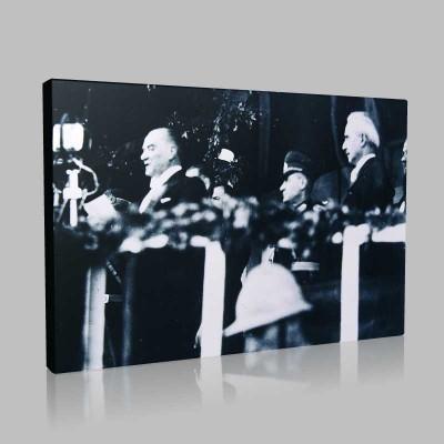 Siyah Beyaz Atatürk Resimleri  364 Kanvas Tablo