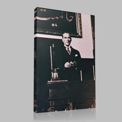 Siyah Beyaz Atatürk Resimleri  368 Kanvas Tablo